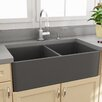 "Nantucket Sinks Fireclay Farmhouse 33.25"" x 18"" Double Bowl Kitchen Sink"