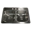 "Nantucket Sinks Madaket 33"" x 22""  Double Bowl Kitchen Sink"