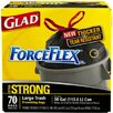 Glad (70 per Carton) 30 Gallon Drawstring Force Flex Trash Bags in Black