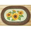 Earth Rugs Sunflowers Oval Multi Patch Area Rug