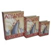 Cheungs 3 Piece Book Box with Vintage Atlantic Cruise Liner Theme Set