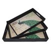 Cheungs 3 Piece Peacock Tray Set