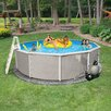 """Blue Wave Products Round 52"""" Deep 6"""" Top Rail Belize Metal Wall Swimming Pool Package"""