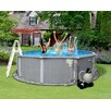 """Blue Wave Products Round 54"""" Deep 8"""" Resin Top Rail Zanzibar Swimming Pool Package"""