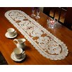 Violet Linen Sapphire Embroidered Cutwork Lace Table Runner