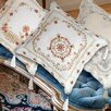 Violet Linen Beaded Emblem Design Embroidered Throw Pillow