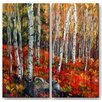 All My Walls 'Birch Trees' by Ingrid Dohm 2 Piece Painting Print Plaque Set in Red