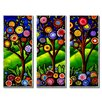 All My Walls 'Fun Funky Trees' by Renie Britenbucher 3 Piece Graphic Art Plaque Set