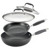 Anolon 4-Piece Non-Stick Covered Skillet and Stir Frying Pan Set