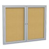 Ghent 2 Door Aluminum Frame Enclosed Natural Cork Bulletin Board
