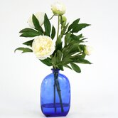Silk Peonies in Glass Bottle
