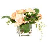 Silk Roses & Gardenias in Glass Vase