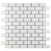 "Retro 0.875"" x 1.875"" Porcelain Mosaic Tile in Matte White"