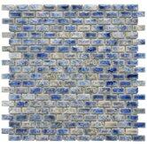 """Arcadia 11-3/4"""" x 11-3/4"""" Glazed Porcelain Subway Mosaic in Neptune Blue"""