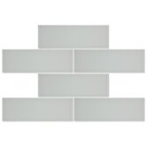"Sierra 4"" x 12"" Glass Mosaic Tile in Ice White"