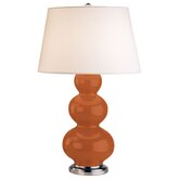 Triple Gourd Table Lamp in Pumpkin with Antique Silver Base