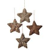 Appalachian Lodge Natural Star Ornament Set