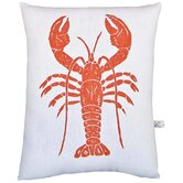 Lobster Block Print Squillow Accent Cotton Throw Pillow