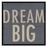 Stefan Dream Big Framed Textual Art in Slate and Tan