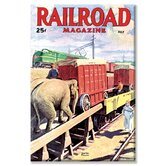 Railroad Magazine the Circus on the Tracks, 1946 Vintage Advertisement on Wrapped Canvas