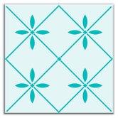 "Folksy Love 4-1/4"" x 4-1/4"" Glossy Decorative Tile in Glass Green"