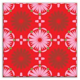 Folksy Love Decorative Tile in Kaleidoscope Pink-Red