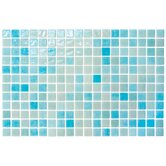 "Colour Blend 1"" x 1"" Glass Frosted Mosaic in Aqua"