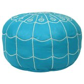 Moroccan Scalloped Leather Pouf Ottoman