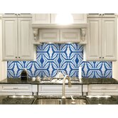 """Urban Essentials Gothic Ornament 3/4"""" x 3/4"""" Glass Glossy Mosaic in Lakefront Blue"""