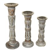 3 Piece Pompeii Ash Distressed Wood Pillar Candle Holders Set