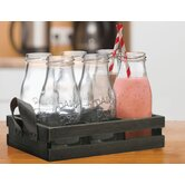 7 Piece Milk Bottle and Tray Set