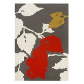 Bella Leaves Grey/Red Area Rug