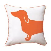 Hot Dog Happy Cotton Throw Pillow