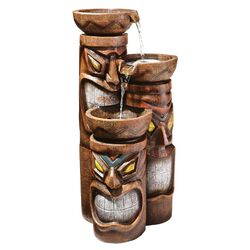 Cascading Aloha Tiki Three Bowl Resin Tiered Fountain