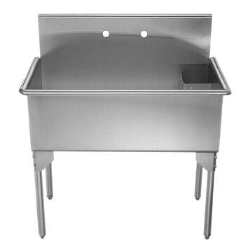 Stainless Steel Freestanding Utility Sink : Pearlhaus-39-x-21-Single-Stainless-Steel-Freestanding-Utility-Sink ...