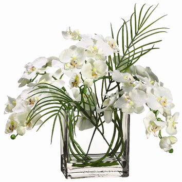 "Tori Home 20"" Phalaenopsis with Glass Vase"