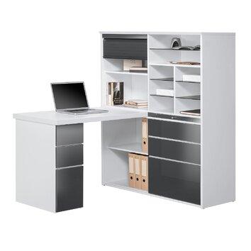 maja m bel schreibtisch regalkombination mit schiebet r. Black Bedroom Furniture Sets. Home Design Ideas