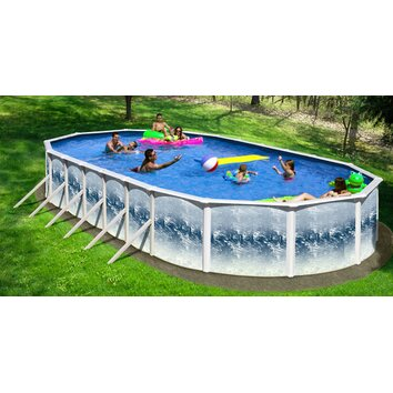 Oval deep ss series oval swimming pool wayfair for Pool oval aufstellbecken