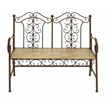 Woodland Imports Wood and Metal Garden Bench & Reviews ...