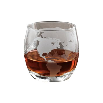 Wine Enthusiast Companies Etched Globe Whiskey Glass (Set of 2)