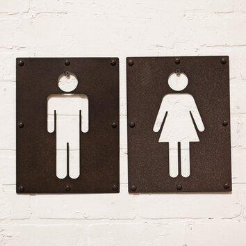 Vip International 2 Piece Metal Bathroom Sign Wall D Cor Set Reviews Wayfair