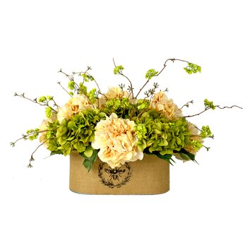 Creative Displays, Inc. Mixed Hydrangea and Viburnum Vine in Burlap Planter