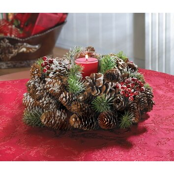 Zingz & Thingz Frosted Pine Cone Wreath Candle Holder