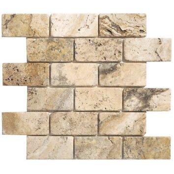 Faber Philadelphia Travertine Mosaic Brick Tumbled Tile In