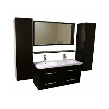 Kokols 48 double bathroom vanity set with mirror for Bathroom ideas 5x10