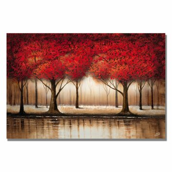 Trademark fine art parade of red trees by rio painting print on canvas ma0301