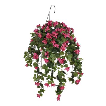 artificial bougainvillea hanging plant in basket wayfair. Black Bedroom Furniture Sets. Home Design Ideas