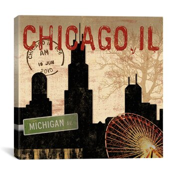 icanvas chicago skyline ii from sparx studio graphic art With kitchen cabinets lowes with chicago skyline canvas wall art