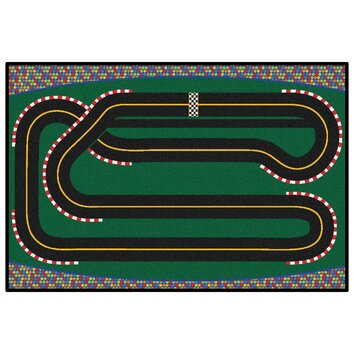 Kids Value Rugs Green Super Speedway Racetrack Area Rug