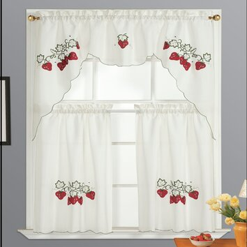 Dainty Home Strawberry Kitchen Valance and Tier Set